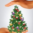 Vector de stock : Christmas Tree Hold in Hands