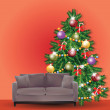 Stock Vector: Christmas Tree with Sofa