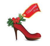 Illustration of christmas discount on red shoe — Stock Vector