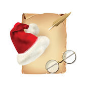 Old Parchment with Christmas Hat and Glasses — Stock Vector