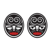 Collection of two different maori style faces — Stock Vector