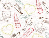 Vintage background with make up objects — Stock Vector