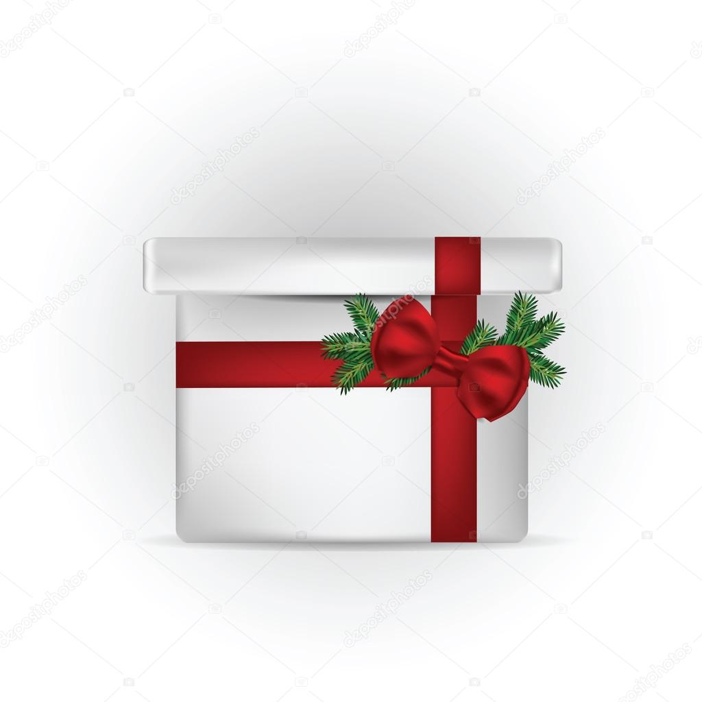 Illustration of gift box with red bow and pine tree branch  — Stock Vector #14390971