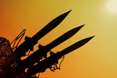 Silhouette of rockets — Stock Photo