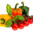 Pepper basil and tomatoes. — Stock Photo