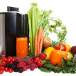 A Juicer surrounded by healthy fruits and vegetables, isolated on white — Stock Photo #35882415