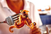 Grilled octopus on a fork — Stock Photo