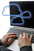 Clouding computer business — Stock Photo