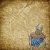 Armored knight on white warhorse - retro postcard — Stock Photo