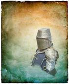 Armored knight in helmet with shield - retro postcard — Stock Photo