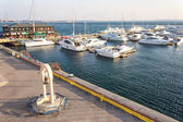 Group of yachts and boats in the harbor — Stock Photo