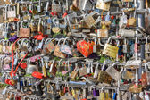 Close-up of a large number of love locks — Stock Photo