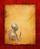 Armored knight with battle-axe - retro postcard — Stock fotografie