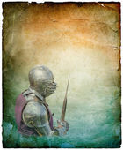 Armored knight with battle-axe - retro postcard — Stock Photo