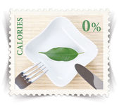 Label for various healthy nutrition diet products advertisements stylized as post stamp — Stock Photo