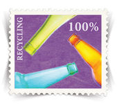 Label for glass bottle recycling posters stylized as post stamp — Stock Photo
