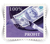 Label for various business advertisements stylized as post stamp — Stock Photo