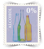 Label for non-alcoholic drinks advertisements stylized as post stamp — Stock Photo