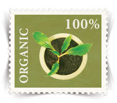 Label for various organic products ads stylized as post stamp — Stock Photo