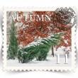 Label for seasonal ads or calendars stylized as post stamp — Stock Photo