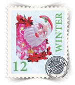 Label for seasonal products ads or calendars stylized as post stamp — Stock Photo