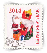 Label for seasonal ads or new year greeting cards stylized as post stamp — Stock Photo