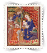 Label for Christmas greeting cards stylized as post stamp — Stock Photo