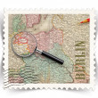 Label for Berlin tourist products ads stylized as post stamp — Stock Photo