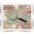 Label for Paris tourist products ads stylized as post stamp — Stock Photo