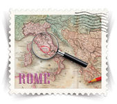 Label for Rome tourist products ads stylized as post stamp — Stock Photo
