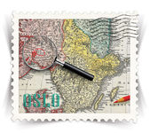Label for Oslo tourist products ads stylized as post stamp — Stock Photo