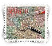 Label for Madrid tourist products ads stylized as post stamp — Stock Photo