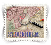 Label for Stockholm tourist products ads stylized as post stamp — Stock Photo