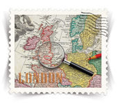 Label for London tourist products ads stylized as post stamp — Stock Photo