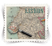 Label for Lisbon tourist products ads stylized as post stamp — Stock Photo
