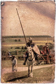 Armored knight on warhorse - retro postcard — Stock Photo