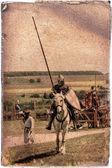 Opancerzony rycerz na rumaka - retro pocztówka — Zdjęcie stockowe