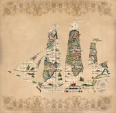Sailing ship silhouette over antique map - retro postcard — Stock Photo