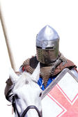 Armoured knight on warhorse — Stock Photo