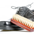 Classic black men's shoe and brush — Stock Photo #47836001
