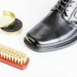 Classic black men's shoe, boot polish and brush — Stock Photo #47836135