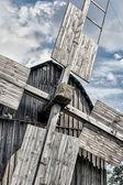 Old wooden traditional ukrainian windmill — Stock Photo