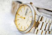 Old wristwatch with metal wristlet — Stock Photo