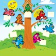 Funny birds on a tree — Stock Vector