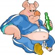 Stock Vector: Fat pig with bottle