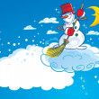 Stock Vector: Snowman on a cloud