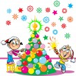 Children decorate the Christmas tree — Stock Vector
