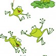 Few green frogs - Stock Vector