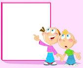 Boy and girl near blackboard — Stock Vector