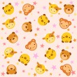Pattern with baby animals — Stock Vector